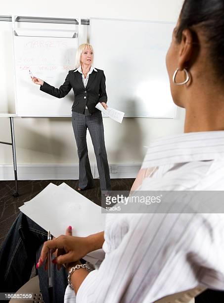 Enseignant avec un tableau à feuilles devant une classe d'étudiants