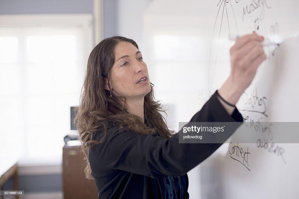 Teacher writing on whiteboard