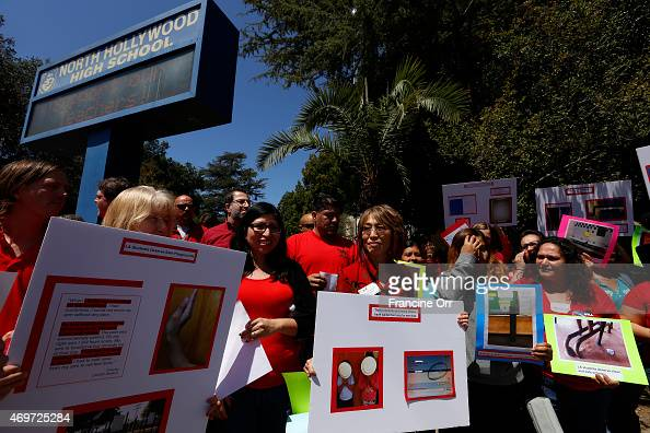 Teachers are protesting in a school bus traveling from site to site throughout the day make a stop at North Hollywood High School in North Hollywood...