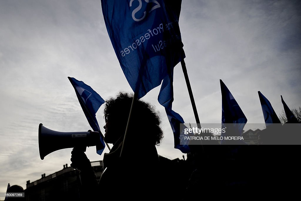 Teachers attend a demonstration against government austerity measures organized by the Portuguese Teachers National Front Union (FENPROF) in Lisbon, on January 26, 2013.