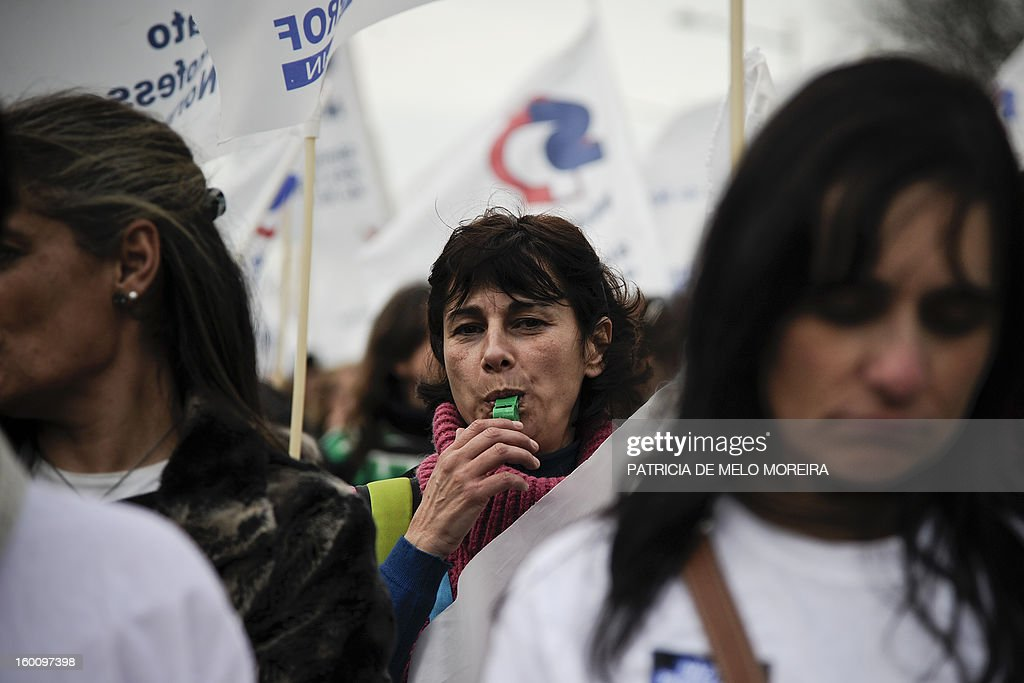 Teachers attend a demonstration organized by the Portuguese Teachers National Front Union (FENPROF) against government austerity measures in education in Lisbon, on January 26, 2013.