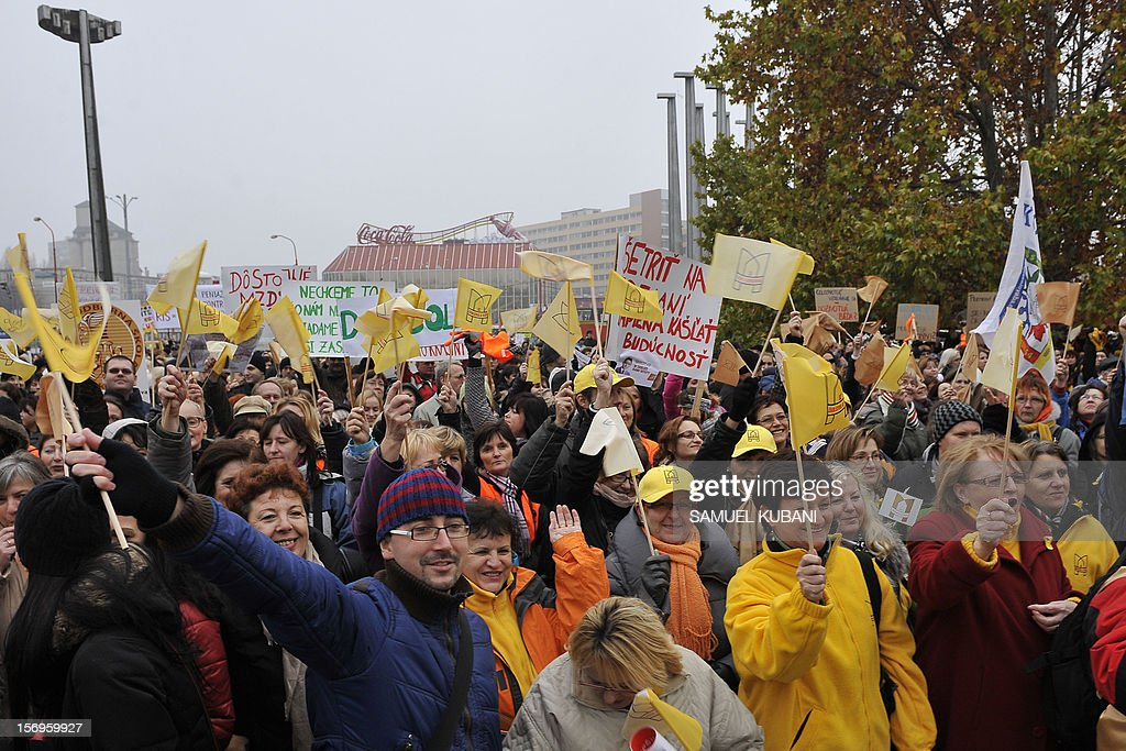 Teachers demonstrate at Trnavske Myto square on November 26, 2012 in Bratislava during a nationwide employee and teacher's strike in Slovakia. Slovak teachers stage their largest-ever strike demanding a 10-percent salary hike. AFP PHOTO/SAMUEL KUBANI