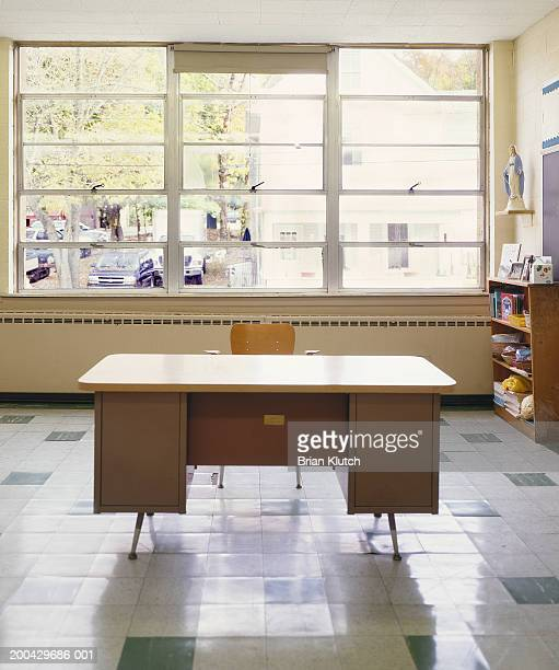 Teacher's desk in empty classroom