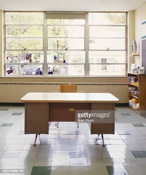 Teacher's desk in empty classroom