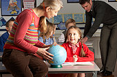 Teachers Giving Geography Lesson To Primary School Children In Classroom