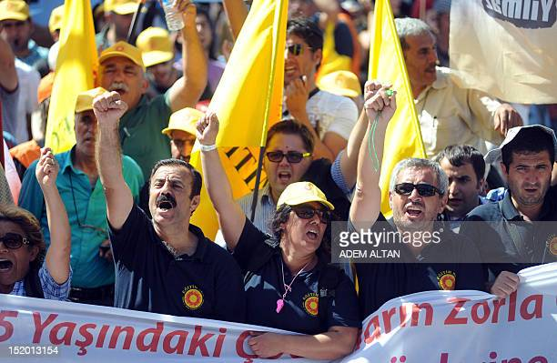 Teachers Unions members and citizens protest againts Turkish government's plan to change the education system on September 15 2012 in Ankara AFP...