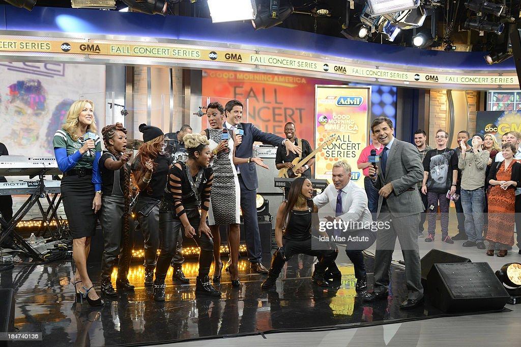 AMERICA - TLC teaches Sam Champion how to dance on GOOD MORNING AMERICA, 10/15/13, airing on the ABC Television Network. (Photo by Ida Mae Astute/ABC via Getty Images) TLC, LARA