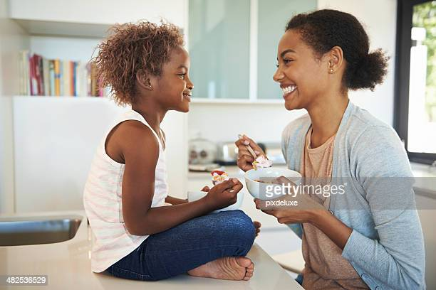 Teaching her daughter healthy eating habits