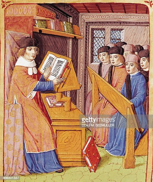 Teaching miniature from The Georgics by Virgil Ms 493 f 56 r vellum 1469 France 15th century