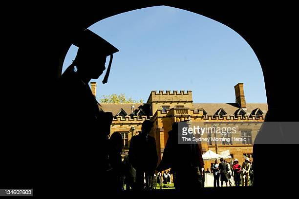 Teaching students prepare for their graduation ceremony at the University of Sydney 22 April 2005