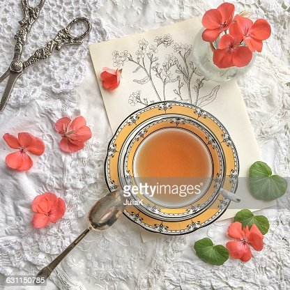 Teacup, geranium flowers, scissors and floral sketch : Stock Photo