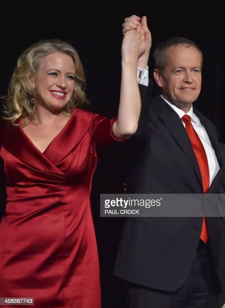 Teader of the Australian Labor Party Bill Shorten and wife Chloe acknowledge the crowd after speaking about the success of the Labor Party in the...