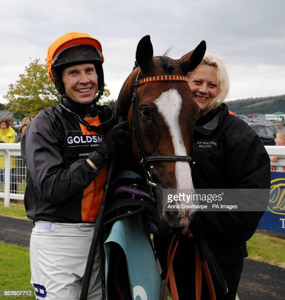 Teak and Richard Johnson after their victory in the William Hill 80th Anniversary Handicap Hurdle at Cartmel Racecourse Cartmel Cumbria