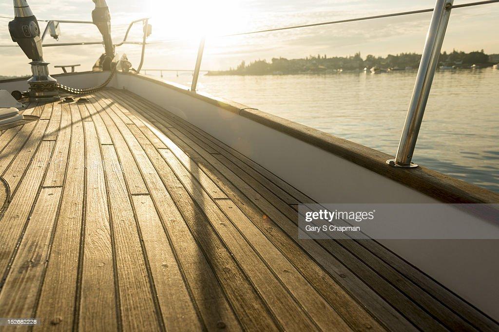 Teak deck of 62 ft sailboat