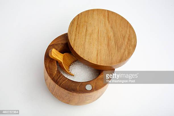 Teak salt cellar with swingclose lid from Be Home at Salt Sundry