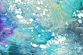 Teal blue and white paint drips abstract background texture