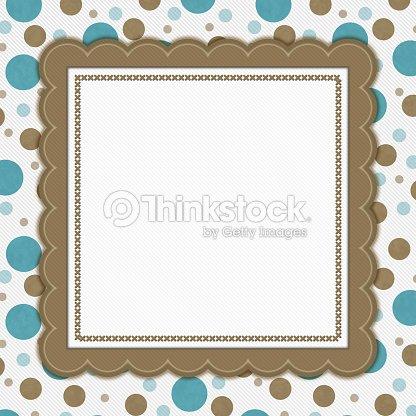 Teal Brown And White Polka Dot Frame Background Stock Photo | Thinkstock