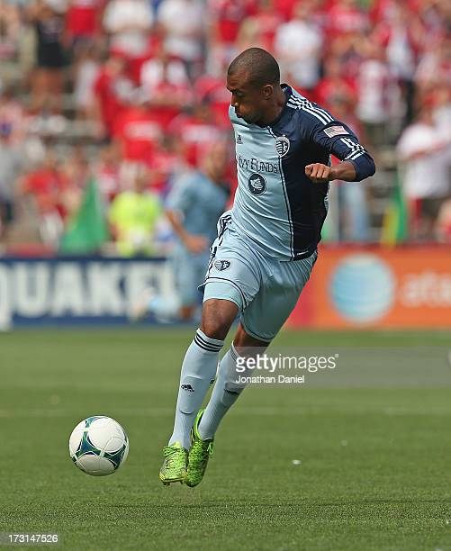 Teal Bunbury of Sporting Kansas City controls the ball against the Chicago Fire during an MLS match at Toyota Park on July 7 2013 in Bridgeview...