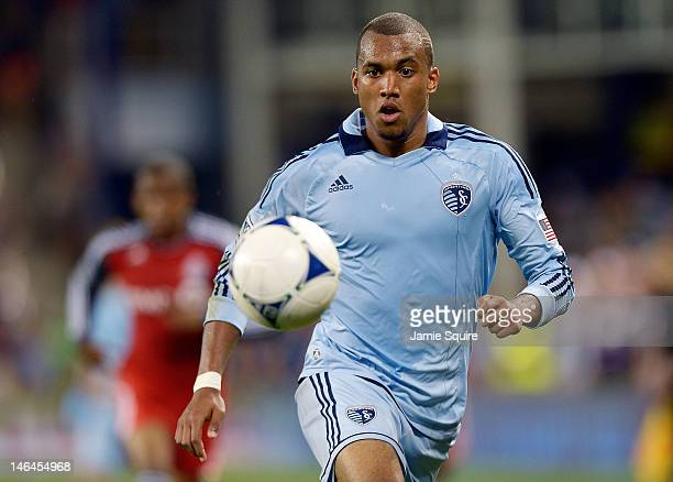 Teal Bunbury of Sporting KC controls the ball during the MLS game against the Toronto FC on June 16 2012 at Livestrong Sporting Park in Kansas City...