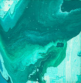 Teal, Turquoise, Blue, and Green Fluid Acrylic Abstract Painting with Copy Space