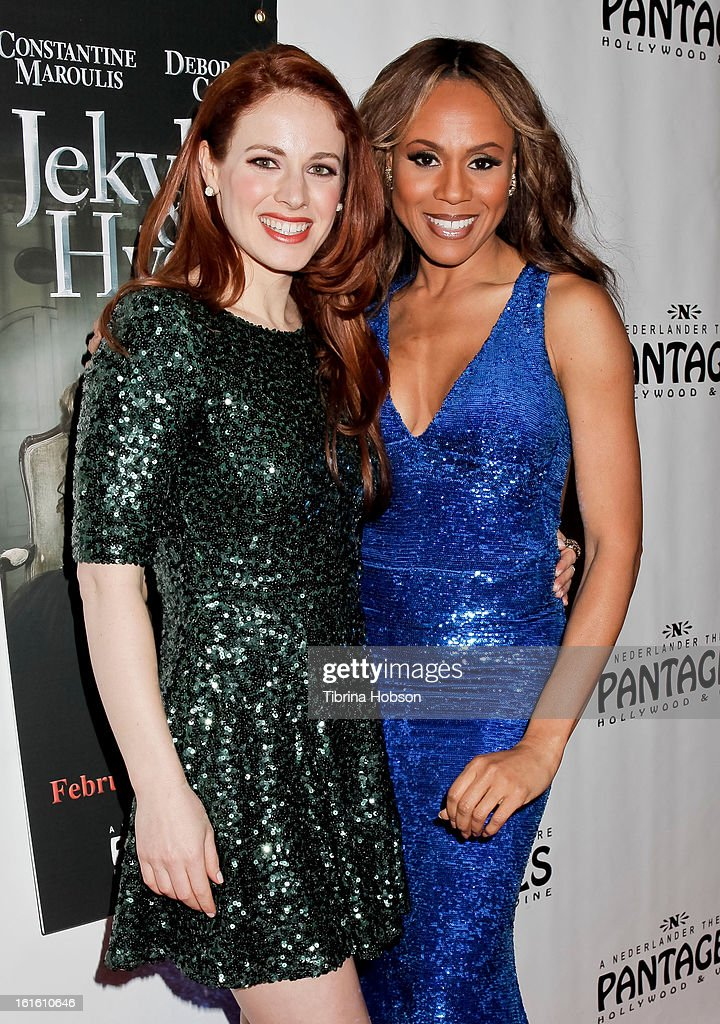Teal Wicks and Deborah Cox attend the 'Jekyll & Hyde' Los Angeles play opening at the Pantages Theatre on February 12, 2013 in Hollywood, California.