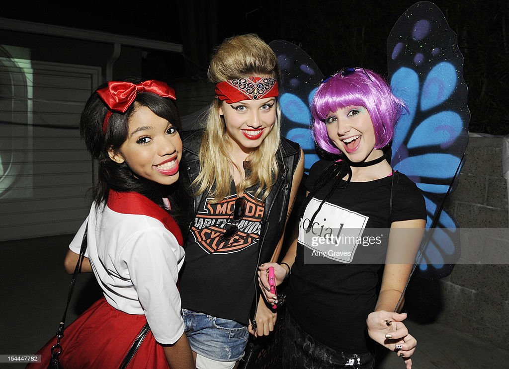 Teala Dunn, Gracie Dzienny and Audrey Whitby attend pop singer Temara Melek's UNICEF Party on October 19, 2012 in Los Angeles, California.