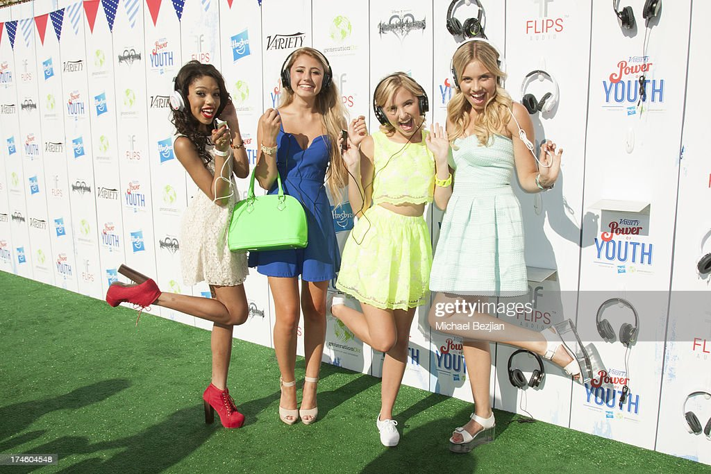 <a gi-track='captionPersonalityLinkClicked' href=/galleries/search?phrase=Teala+Dunn&family=editorial&specificpeople=7399540 ng-click='$event.stopPropagation()'>Teala Dunn</a>, Lia Marie Johnson, Audrey Whitby and <a gi-track='captionPersonalityLinkClicked' href=/galleries/search?phrase=Gracie+Dzienny&family=editorial&specificpeople=7496505 ng-click='$event.stopPropagation()'>Gracie Dzienny</a> attend Flips Audio At Variety Power of Youth at Universal Studios Backlot on July 27, 2013 in Universal City, California.