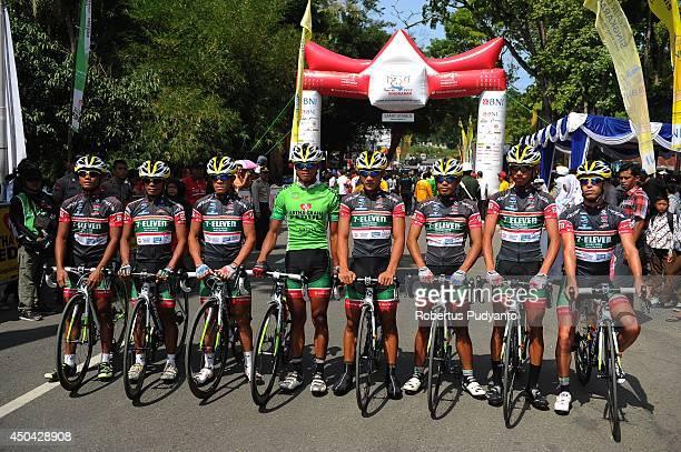 Team 7 Eleven Roadbike Phillipine pose before start at stage 5 of the 2014 Tour de Singkarak from Ngalau Indah to Lake Singkarak on June 11 2014 in...