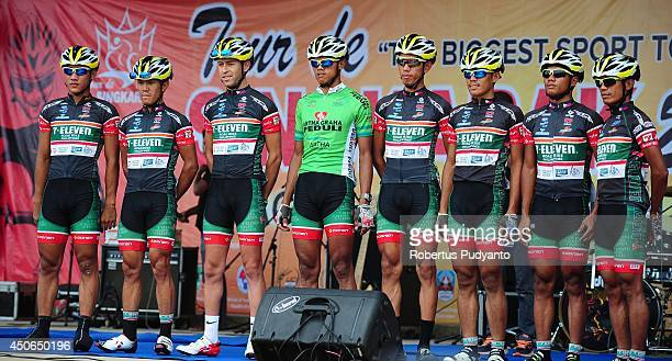 Team 7 Eleven Roadbike Phillipine pose during stage 9 of the 2014 Tour de Singkarak from Pesisir Selatan to Padang City with a distance of 1205 km on...