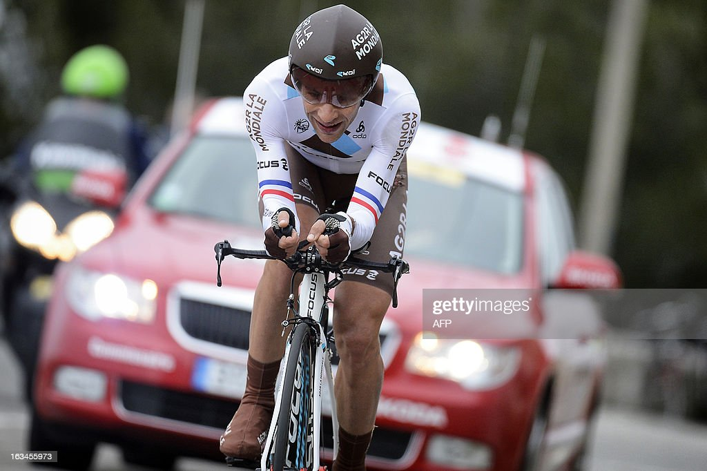 Team AG2R La Mondiale French cyclist Jean Christophe Peraud competes during the seventh and last stage (time trial) of the 71st Paris-Nice cycling race in Nice, on March 10, 2013. Peraud finished third and Richie Porte won the stage and the Paris-Nice race.