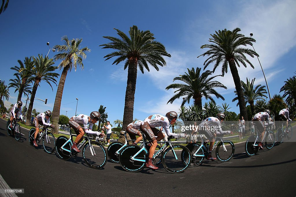 Team AG2R La Mondiale in action during stage four of the 2013 Tour de France, a 25KM Team Time Trial on July 2, 2013 in Nice, France.