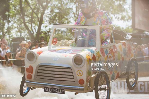 Team Alexandra Palace The Summer of Love take part in the The Red Bull Soapbox Race at Alexandra Palace on July 9 2017 in London England The event in...