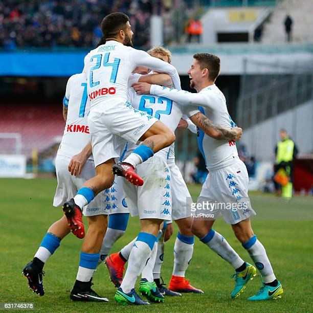 Team and Lorenzo Tonelli celebrates after scoring during the Italian Serie A match between SSC Napoli and Pescara at San Paolo Stadium in Naples...