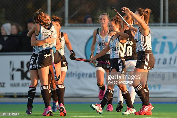 Team Argentina celebrate after scoring their secon goal during the international women's hockey test match between the New Zealand Black Sticks and...