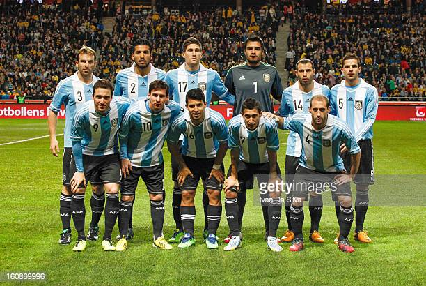 Team Argentina during the International Friendly match between Sweden and Argentina at the Friends Arena on February 6 2013 in Stockholm Sweden