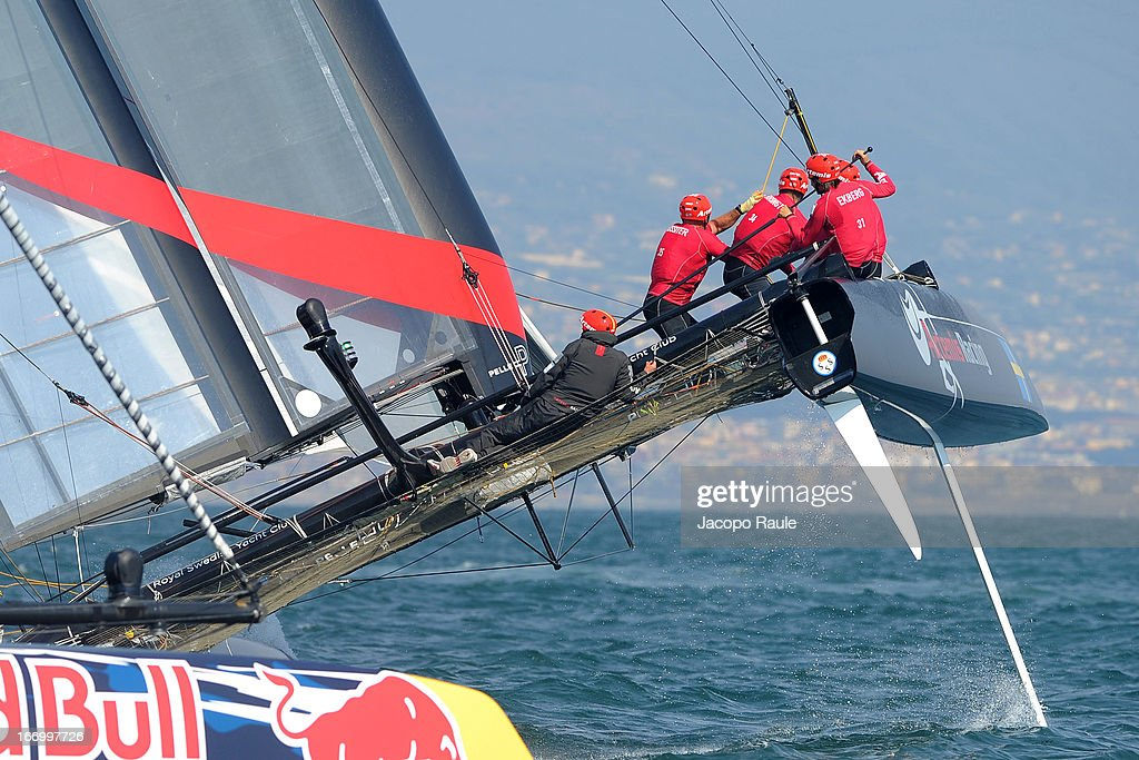 Team Artemis Racing skippered by Charlie Ekberg of Sweden competes in Quarter Finals during America's Cup World Series Naples on April 19, 2013 in Naples, Italy.