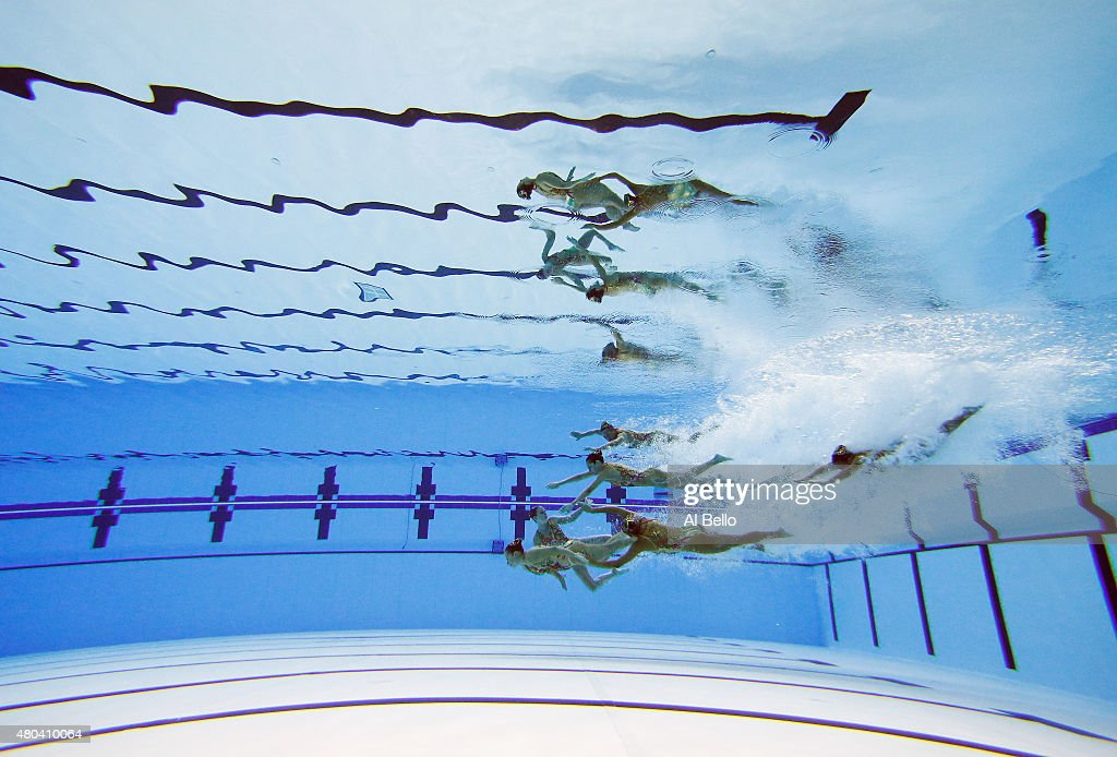 Team Aruba competes during the Women's Team Synchronized Swimming Free Final on July 11, 2015 in Toronto, Canada.