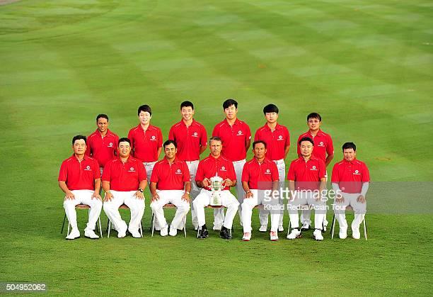 Team Asia pose for a group photo Danny Chia Kiradech Aphibarnrat Anirban Lahiri Jeev Milkha Singh Thongchai Jaidee Shingo Katayama and Prayad...