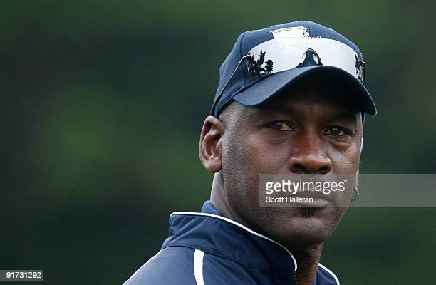 Team assistant Michael Jordan watches the play during the Day Three Morning Foursome Matches of The Presidents Cup at Harding Park Golf Course on...