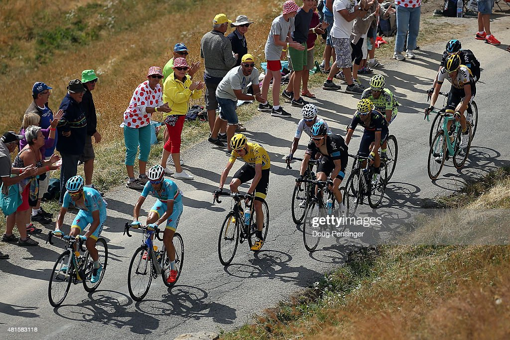 Team Astana and <a gi-track='captionPersonalityLinkClicked' href=/galleries/search?phrase=Vincenzo+Nibali&family=editorial&specificpeople=770634 ng-click='$event.stopPropagation()'>Vincenzo Nibali</a> (2L) of Italy riding for Astana Pro Team lead the group of <a gi-track='captionPersonalityLinkClicked' href=/galleries/search?phrase=Chris+Froome&family=editorial&specificpeople=5428054 ng-click='$event.stopPropagation()'>Chris Froome</a> (3L) of Great Britain riding for Team Sky in the overall race leader yellow jersey on the climb of the Col d'Allos stage 17 of the 2015 Tour de France from Digne-Les-Bains to Pra Loup on July 22, 2015 in Allos, France. The group also includes <a gi-track='captionPersonalityLinkClicked' href=/galleries/search?phrase=Nairo+Quintana&family=editorial&specificpeople=8831308 ng-click='$event.stopPropagation()'>Nairo Quintana</a> of Columbia riding for Movistar Team, <a gi-track='captionPersonalityLinkClicked' href=/galleries/search?phrase=Alejandro+Valverde&family=editorial&specificpeople=193419 ng-click='$event.stopPropagation()'>Alejandro Valverde</a> of Spain riding for Movistar Team and <a gi-track='captionPersonalityLinkClicked' href=/galleries/search?phrase=Alberto+Contador&family=editorial&specificpeople=562697 ng-click='$event.stopPropagation()'>Alberto Contador</a> of Spain riding for Tinkoff-Saxo.