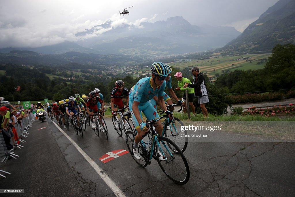 Team Astana drives the peloton during stage ninteen of the 2016 Le Tour de France, a 146km stage from Albertville to Saint Gervais Mont Blanc on July 22, 2016 in Le Bettex, France.