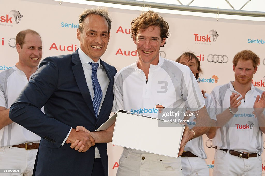 Team Audi Ultra members <a gi-track='captionPersonalityLinkClicked' href=/galleries/search?phrase=Prince+William&family=editorial&specificpeople=178205 ng-click='$event.stopPropagation()'>Prince William</a>, Duke of Cambridge, Andre Konsbruck, Director of Audi UK, Luke Tomlinson, Mark Tomlinson and <a gi-track='captionPersonalityLinkClicked' href=/galleries/search?phrase=Prince+Harry&family=editorial&specificpeople=178173 ng-click='$event.stopPropagation()'>Prince Harry</a> attend day one of the Audi Polo Challenge at Coworth Park on May 28, 2016 in London, England.