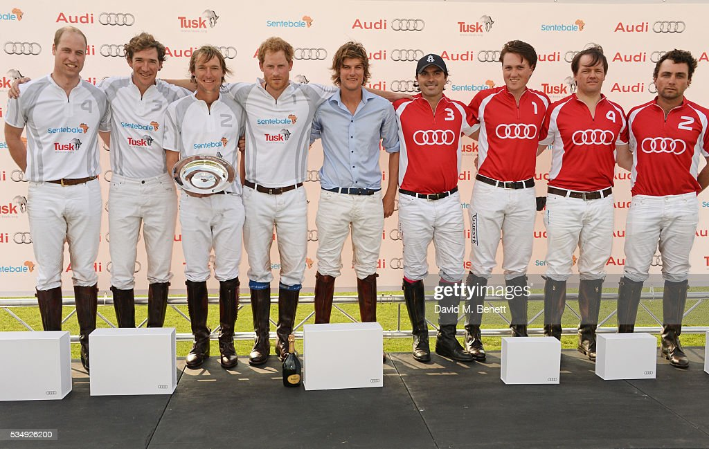Team Audi Ultra members Prince William, Duke of Cambridge, Luke Tomlinson, Mark Tomlinson, Prince Harry and William Melville-Smith and Team Audi Quattro members Freddie Mannix, Robert Jornayvaz, Rico Richert and Malcolm Borwick attend day one of the Audi Polo Challenge at Coworth Park on May 28, 2016 in London, England.