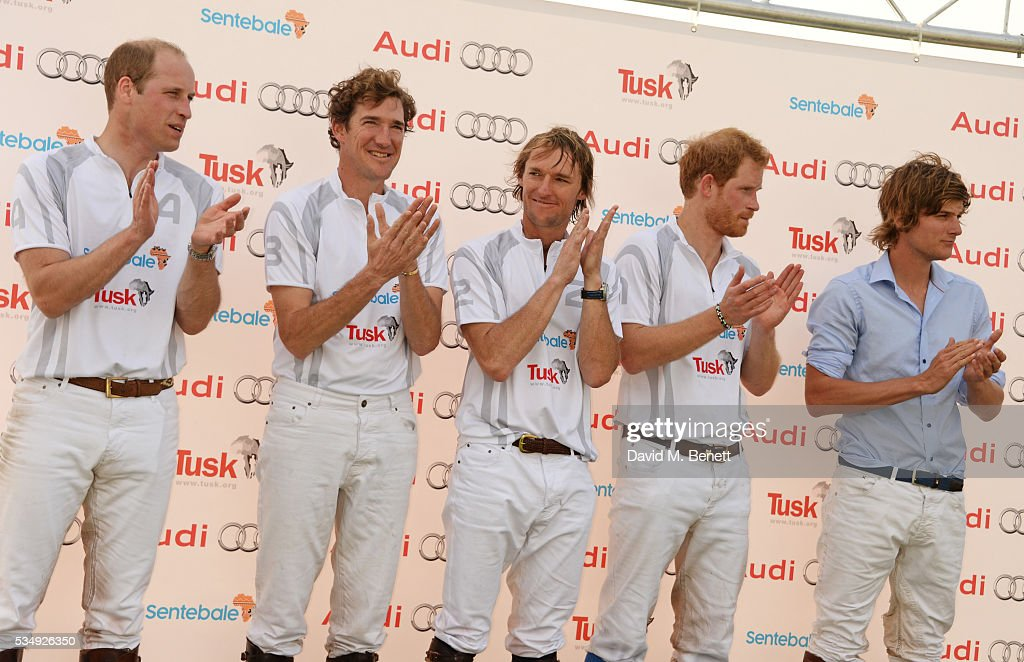 Team Audi Ultra members <a gi-track='captionPersonalityLinkClicked' href=/galleries/search?phrase=Prince+William&family=editorial&specificpeople=178205 ng-click='$event.stopPropagation()'>Prince William</a>, Duke of Cambridge, Luke Tomlinson, Mark Tomlinson, <a gi-track='captionPersonalityLinkClicked' href=/galleries/search?phrase=Prince+Harry&family=editorial&specificpeople=178173 ng-click='$event.stopPropagation()'>Prince Harry</a> and William Melville-Smith attend day one of the Audi Polo Challenge at Coworth Park on May 28, 2016 in London, England.