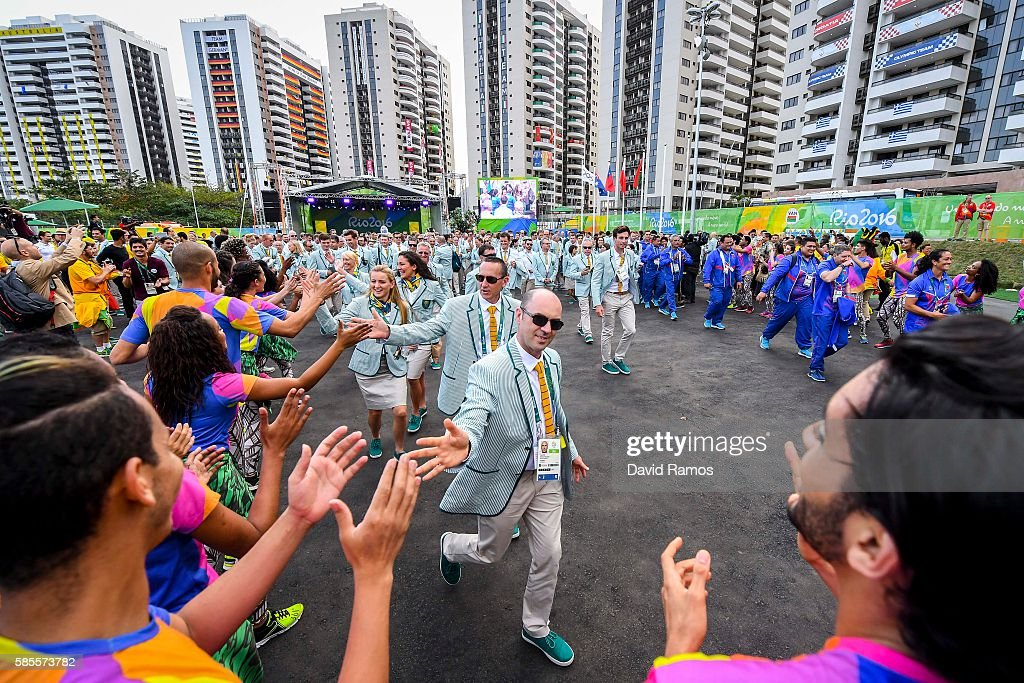 Team Australia athletes for the Rio 2016 Olympic Games attend their welcome ceremony at the Athletes village on August 3 2016 in Rio de Janeiro Brazil