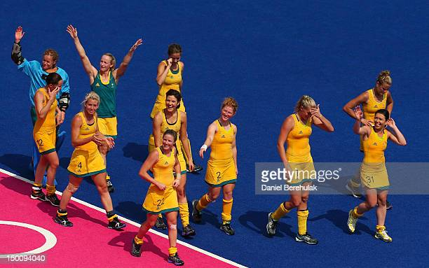 Team Australia celebrate their 20 victory over team China during the Women's Hockey classification match for 5th and 6th place between Australia and...