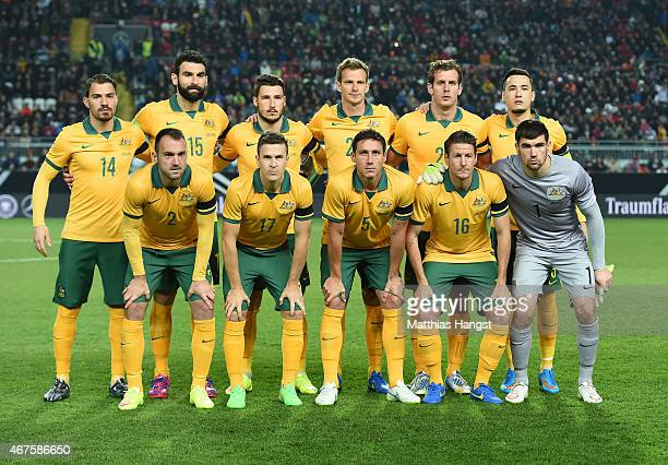 Team Australia line up prior to the International Friendly match between Germany and Australia at FritzWalterStadion on March 25 2015 in...