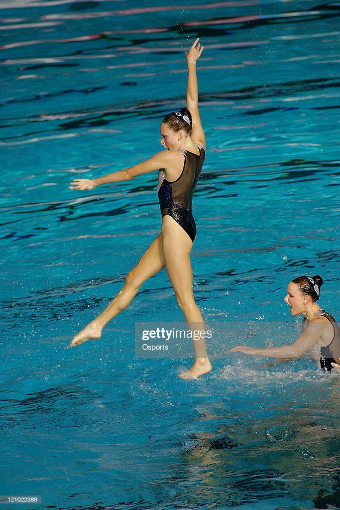 Team Australia performs in the Free Combination Routine Final at the synchronized swimming event during the 12th FINA World Championships at the Rod...