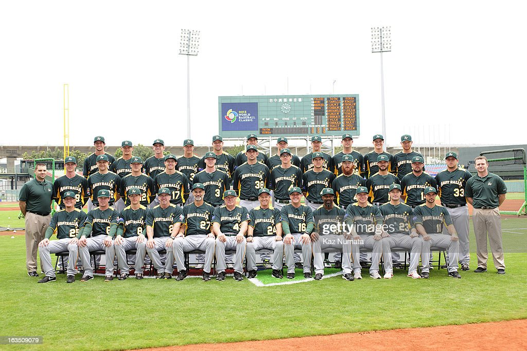 Team Australia poses for a team photo before Pool B, Game 1 between Team Australia and Team Chinese Taipei during the first round of the 2013 World Baseball Classic at Taichung Intercontinental Baseball Stadium on Saturday, March 2, 2013 in Taichung, Taiwan.