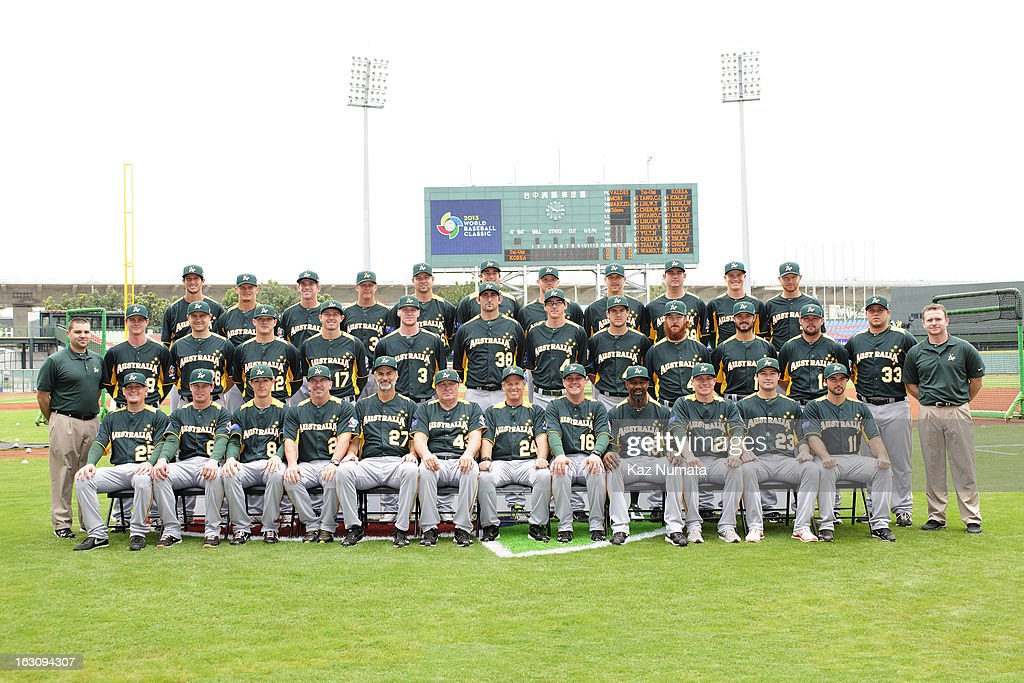 Team Australia poses for a team photo before the Pool B, Game 1 between Team Australia and Team Chinese Taipei during the first round of the 2013 World Baseball Classic at Taichung Intercontinental Baseball Stadium on March 2, 2013 in Taichung, Taiwan.